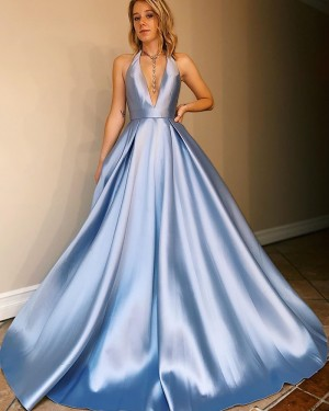 Halter Satin Simple Light Blue Prom Dress with Pockets PM1920