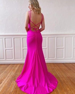 Double Spaghetti Straps Mermaid Satin Simple Fuchsia Prom Dress PM1923