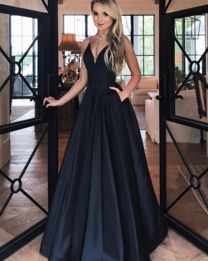 Spaghetti Straps Satin Simple Cyan Prom Dress PM1924