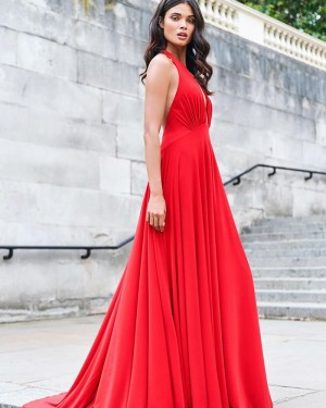 Halter Ruched Bodice Satin Simple Red Prom Dress PM1925