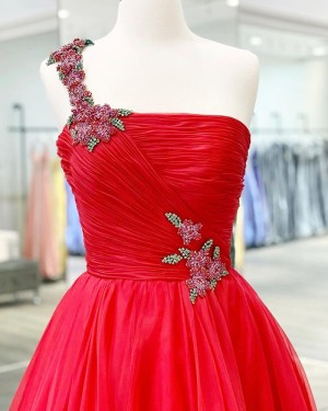 Beading Ruched Tulle One Shoulder Red Prom Dress PM1926