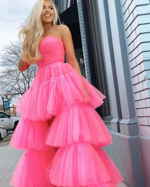 Tulle High Low Layer Ruffled Strapless Black Prom Dress PM1928