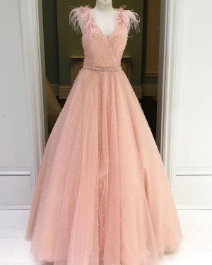 Beading Sparkle Tulle V-neck Dusty Pink Prom Dress with Feather Sleeves PM1930