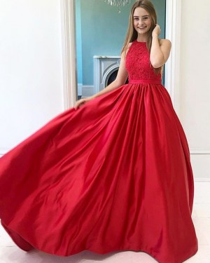 Lace Bodice Satin High Neck Red Prom Dress PM1931