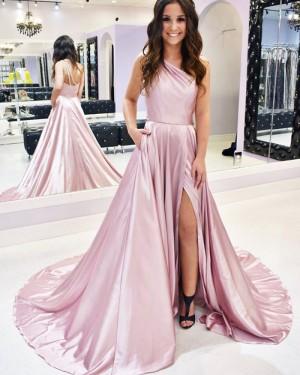 Slit One Shoulder Satin Simple Pink Prom Dress with Pockets PM1933