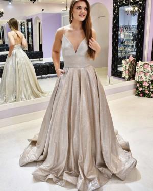 Spaghetti Straps Sparkle Metal Prom Dress with Pockets PM1934