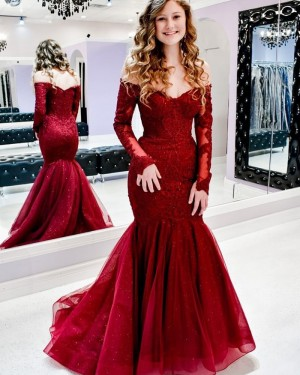 Lace Mermaid Off the Shoulder Red Prom Dress with Long Sleeves PM1937