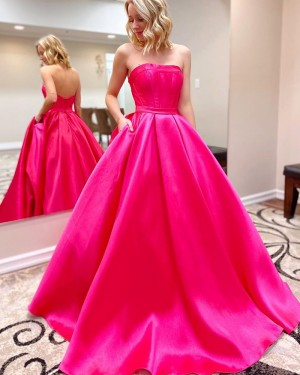 Strapless Satin Simple Rose Red Prom Dress with Pockets PM1938
