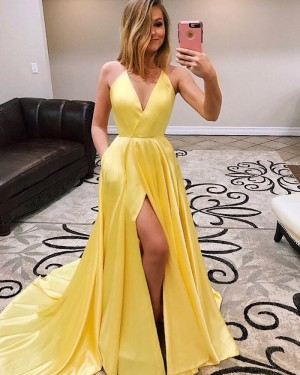 Spaghetti Straps Pleated Satin Simple Yellow Prom Dress with Pockets PM1944