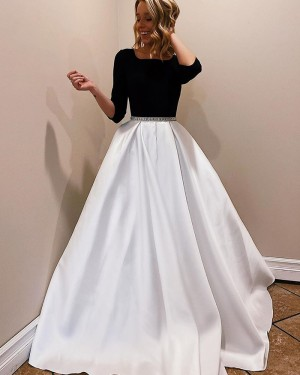 Satin Scoop Neckline White & Black Prom Dress with 3/4 Length Sleeves PM1945