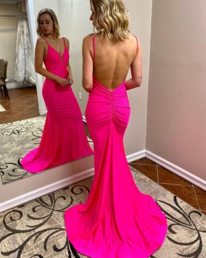 Spaghetti Straps Satin Simple Mermaid Prom Dress with Open Back PM1946