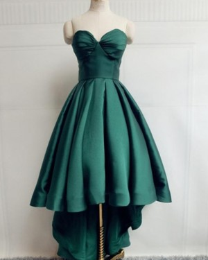 High Low Green Satin Simple Sweetheart Prom Dress PM1947