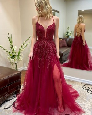 Beading Tulle Spaghetti Straps Burgundy Prom Dress with Side Slit PM1948