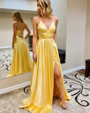 Spaghetti Straps Satin Slit Simple Yellow Prom Dress with Pockets PM1950