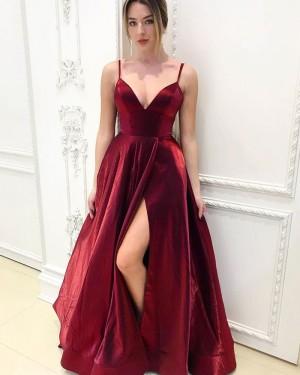 Spaghetti Straps Burgundy Simple Velvet Prom Dress with Side Slit PM1953