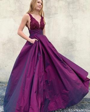 Lace Bodice V-neck Purple Prom Dress with Pockets PM1957