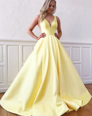 V-neck Satin Simple Yellow Prom Dress with Pockets PM1958