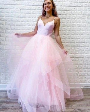Spaghetti Straps Ruffled Simple Pearl Pink Prom Dress PM1960