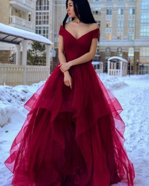 Off the Shoulder Ruffled Simple Burgundy Prom Dress PM1962