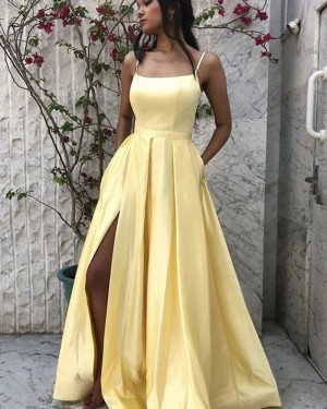 Spaghetti Straps Satin Slit Simple Yellow Prom Dress with Pockets PM1964