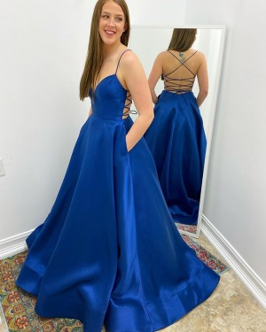 Spaghetti Straps Satin Simple Blue Prom Dress with Pockets PM1965