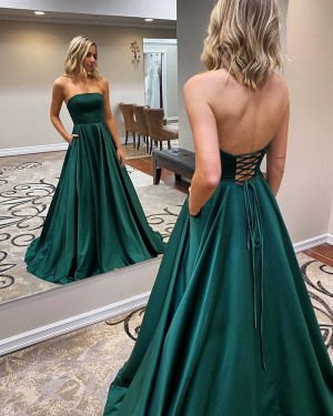 Strapless Satin Simple Green Prom Dress with Pockets PM1967