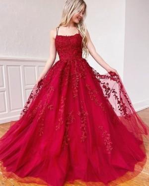 Lace Applique Spaghetti Straps Red Prom Dress PM1968