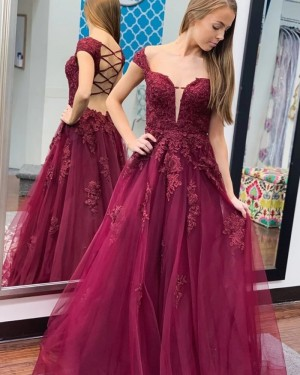 Lace Applique Cap Sleeve Tulle Burgundy Prom Dress PM1971
