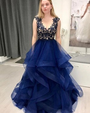 Lace Bodice V-neck Ruffle Navy Blue Prom Dress PM1974