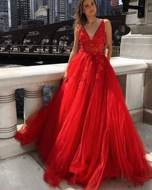 Lace Applique Tulle V-neck Red Prom Dress PM1975