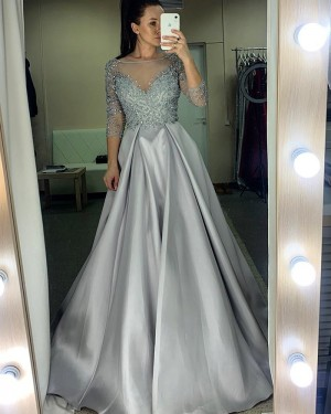 Beading Bodice Sheer Neckline Grey Prom Dress with 3/4 Length Sleeves PM1976