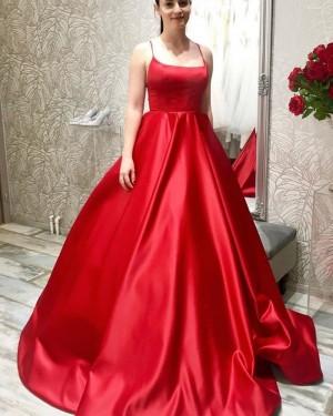Spaghetti Straps Simple Satin Red Prom Dress PM1978
