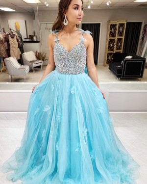 Beading Bodice Spaghetti Straps Cyan Prom Dress with 3D Flowers PM1979