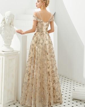 Light Gold Cold Shoulder Beading Evening Dress