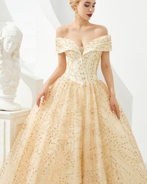 Off the Shoulder Champagne Sequin Ball Gown Evening Dress