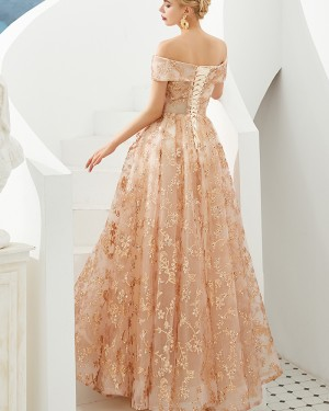 Off the Shoulder Pleated Sequin A-line Evening Dress