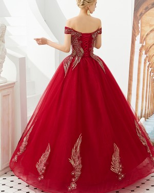 Off the Shoulder Red Embroidery Beading Evening Dress