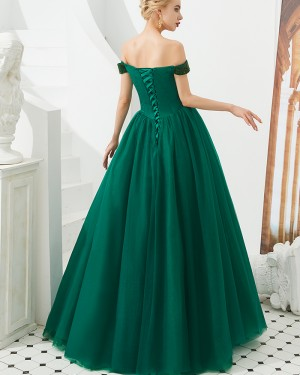 Beading Bodice Off the Shoulder Pleated Ball Gown Evening Dress
