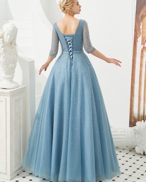 Tulle Dusty Blue V-neck Beading Evening Dress with Half Length Sleeves