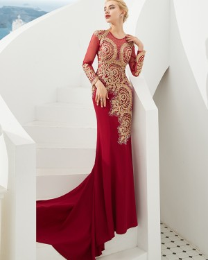 Beading Satin Jewel Mermaid Red Evening Dress with Long Sleeves