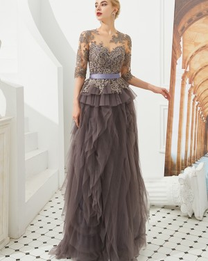 Jewel Lace Applique Brown Ruffle Evening Dress with Half Length Sleeves