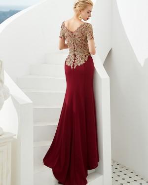 Beading Applique Bateau Burgundy Mermaid Evening Dress with Short Sleeves