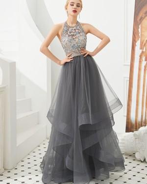 Halter Beading Flowers Ruffle Grey Tulle Evening Dress