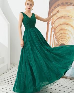 V-neck Green Beading A-line Evening Dress