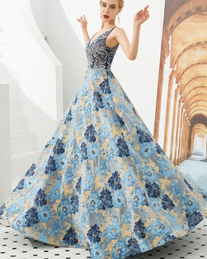Beading Deep V-neck A-line Evening Dress with Floral Embroidery Skirt