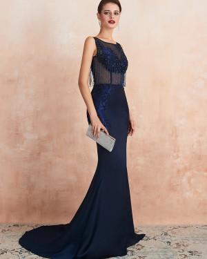 Navy Blue Beading Jewel Neck Mermaid Evening Dress QD061