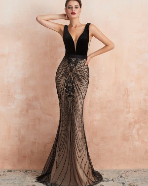 V-neck Black Sequin Lace Mermaid Evening Dress QD062