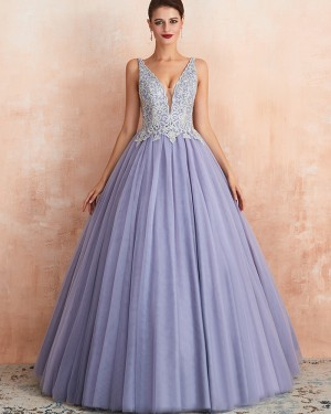 Beading Lace Bodice V-neck Lavender Pleated Evening Gown QD063