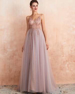 Beading Bodice Tulle Spaghetti Straps Evening Dress with Side Slit QD064