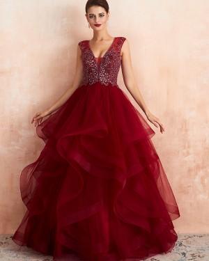 V-neck Beading Bodice Ruffled Princess Evening Dress QD065